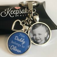 Personalised Photo Keyring - Blue - Belongs to - Birthday Present Christmas Box