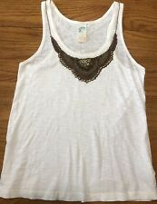 Anthropologie Beaded White Blouse Size Small Top Bronze Dressy Casual Date Party
