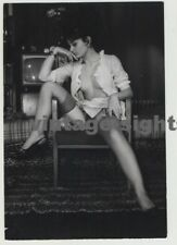 Pretty Darkhaired French Nude Posing In Chair / 50s TV (Vintage Photo 1954)
