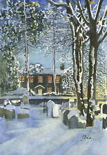 Bronte Parsonage, Winter - Hand Signed, Titled and Mounted Print with COA