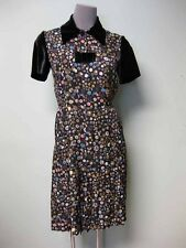 Chanel CC Logo Camellia Jewel Buttons Print Silk Shirt Dress 36 + Bow Pin 13B