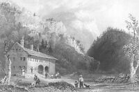 NOTCH HOUSE COTTAGE, WHITE MOUNTAINS ~ Old 1838 Landscape Art Print Engraving