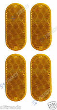 4 PC 4 1/2 X 2 INCH ROUND RECTANGLE OVAL ADHESIVE STICK REFLECTOR AMBER MAILBOX