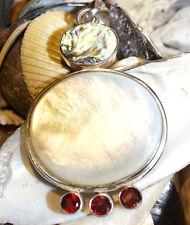 Silber Kettenanhänger Anhänger Riesig Groß 6 x 3,5 cm Perlmutt Granat Muschel