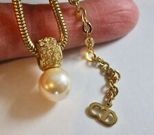 Vintage Christian Dior Gold Tone Faux Pearl & Rhinestone Pendant Necklace