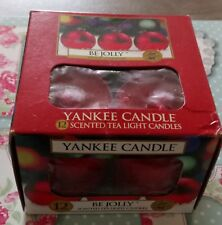 YANKEE CANDLE BE JOLLY BOX OF 12 CHRISTMAS TEALIGHTS US DEERFIELD RARE