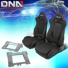 NRG BLACK RECLINABLE RACING SEATS+FULL STAINLESS BRACKET FOR MK4 GOLF/GTI/JETTA(Fits: Golf)