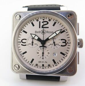 .Auth Bell & Ross Steel Chronograph Watch 46MM BR01-94-S Box & Docs