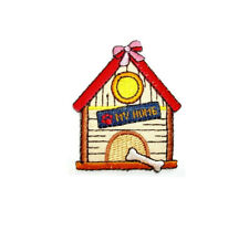 """Dog - Dog House - """"MY HOME"""" - Embroidered Iron On Patch - Crafts"""
