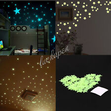 100PCS Home Wall Glow In The Dark Stars Stickers Decal Dreamy Noctilucent UL