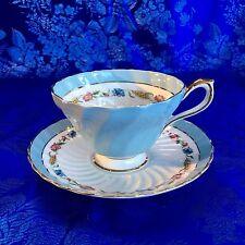 Vintage Aynsley Turquoise Floral Blue Teacup Bone China England