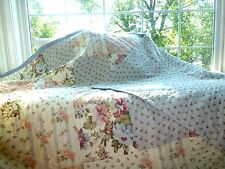 SUNHAM SHABBY Floral CHIC PATCHWORK Reversible Cottage QUILT Coverlet Bedspread