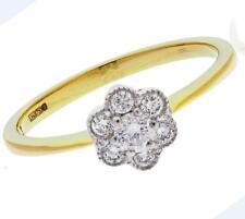 Diamond Daisy Cluster Bague de fiançailles 0.50 ct taille brillant F VS 18 ct Or Jaune
