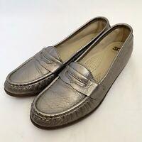 SAS Womens Size 8N Metallic Leather Flat Penny Loafers Comfort Shoes Made In USA
