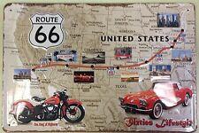 Route 66 embossed steel sign 300mm x 200mm   (hi)