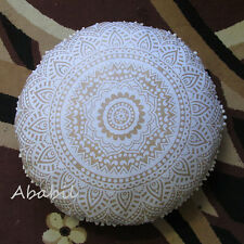 "28"" Indian Mandala White Pillow Cushion Ottoman Covers Round Pillow Covers Throw"