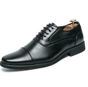 Mens Formal Dress Shoes P Lace Up British Oxfords Faux Leather Business lus Size
