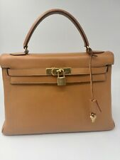 AUTHENTIC HERMES Kelly 32 Hand Bag Gold Color, GHW