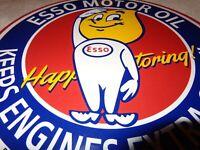 """VINTAGE """"ESSO OIL DROP BOY HAPPY MOTORING"""" 11 3/4"""" PORCELAIN METAL GASOLINE SIGN"""