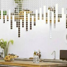 New 100pcs Silver Acrylic Mural Wall Sticker Mosaic Mirror Effect Room DIY
