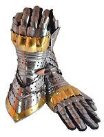 Gauntlet Gloves Armor Pair Brass Accents Medieval Knight Crusader Steel Gloves
