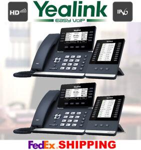2 YEALINK SIP-T53W 12-LINE GIGABIT TELEPHONES + 2 EXP50 COLOR EXPANSION MODULES