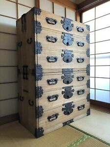 Antique Japanese Furniture Wood Cabinet Isho Dansu H.50inch/127cm Paulownia wood