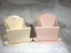 2 Baby Cradle Crib Planter by Haeger Pottery Baby Shower, Nursery