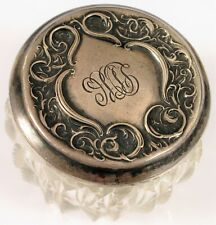 ANTIQUE RW & S WALLACE STERLING SILVER ART NOUVEAU POWDER DRESSER TRINKET JAR !