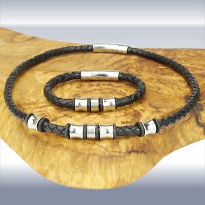 Lederkette/Halsband oder Armband 6mm mit Beads und Verschluss Edelstahl Herren