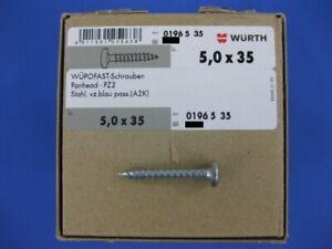 Würth Spanplatten Schrauben 5,0 x 35 WÜPOFAST Vollgewinde Schrauben Panhead-PZ2