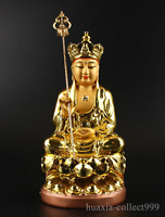 Chinese Resin Gild Buddhism Ksitigarbha Boddhisattva Budhha Hold Crosier Statue