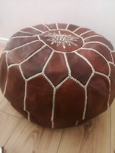 100% ORGANIC Genuine LEATHER MOROCCAN POUFFE FOOTSTOOL Brown