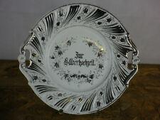 """Teller mit Griffen Porzellan """"Zur Silberhochzeit"""" Marke Tielsch Altwasser W1201"""