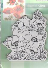 New Cling Penny Black RUBBER STAMP POPPY GEMS FLOWERS  XL  free us ship