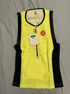 New! $89 Men's Castelli Free Tri Top Cycling Jersey. XL. Sleeveless. Yellow.