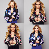 Ladies Womens Jackets Fashion Floral Zip Up Bomber Casual Coat Outwear Size 8-16
