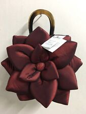 MAD BAGS RED BURGUNDY SILK LOTUS FLOWER EVENING CLUTCH HAND BAG PURSE NWT