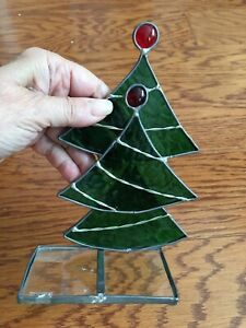 """Stained Glass Christmas Tree Candle Holder Stand ~7.5x4.5"""""""