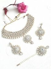 New Indian Bollywood Costume Jewellery Set Choker Stone Pearl Gold White Wedding