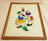 """Vintage Hand Painted Reversed Painting on Glass Foil Art Picture Flowers 14""""x11"""""""