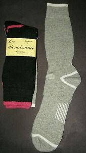 Womens Fully Cushioned Merino Wool Thermal Socks 2 Pairs Shoe Size 5-10