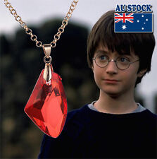 Harry Potter Philosopher's Sorcerer's Stone Red Gem Necklace Deathly Hallows