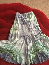 LOVELY JOE BROWNS BOHO EMBROIDERED TIERED TIE DYE GYPSY MAXI SKIRT HIPPIE 18