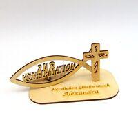 Geldgeschenk zur Konfirmation Personalisiert mit Namensgravur Christlich Fisch