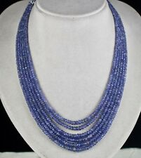 FINEST 6 LINE 312 CTS NATURAL TANZANITE FACETED ROUND GEMSTONE BEADS NECKLACE