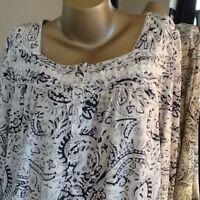 Woman's Croft & Barrow® Pajamas: Long Sleeve Print Cotton Blend Nightgown Large