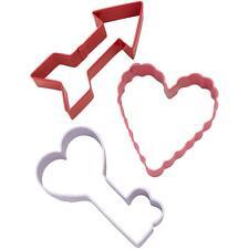 Wilton Metal VALENTINE'S COOKIE CUTTER SET 3 Pc Cutters Arrow Heart & Key RECIPE