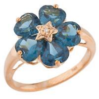 14Kt Rose Gold Plated London Blue Topaz & Diamond Heart Flower Design Ring