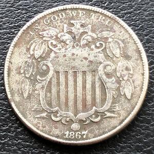 1867 Shield Nickel 5c High Grade XF Details #28812